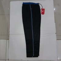 Celana Training hitam List biru & putih bahan diadora