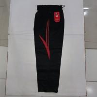 Celana Training hitam motif merah & abu-abu silver bahan diadora