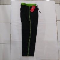 Celana Training hitam List hijau & putih bahan diadora