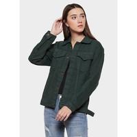 MURAH Jaket jeans Wanita Warna Hijau Tua / Jaket cewe terbaru Hijau - S
