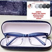 kacamata paket frame dan lensa photocromic normal/minus/cyilinder