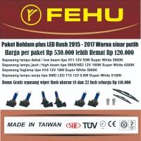 Paket bohlam Fehu plus LED untuk Toyota Rush 2015 - 2017. Sinar putih