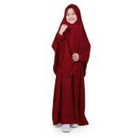 gamis syar'i polos anak perempuan - merah maroon