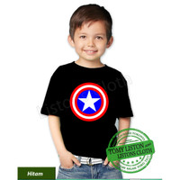 Kaos anak superhero captain america baju avengers - Hitam, 0