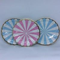 Piring Kertas A3 Garis Biru/Pink