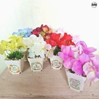 Quote & Flower ~ Bunga Artificial Pot Plastik Hydrangea Palsu Buket