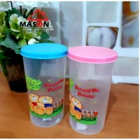 Souvenir Gelas Minum Plastik 400ML - Merah Muda