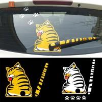Stiker Decal Reflektor Motif Kartun Kucing + Ekor + Ekor untuk