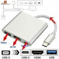Type C USB to USB-C 4K HDMI USB Adapter Cable 3 in 1 Hub for PC