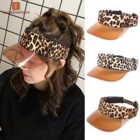 Ladies Leopard Print Summer Sun Protection Sun Hat Outdoor Visor