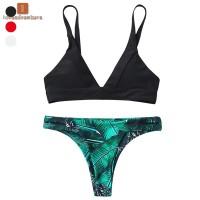 Setelan Bikini Wanita Model Brazilian Motif Print Daun untuk