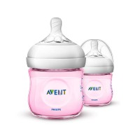 Philips Avent Natural Polypropylene Bottle - Pink (Twin)