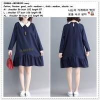 Casual Mini Dress Lengan Panjang Korea Import AB935392 Blue Biru