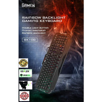Keyboard Gaming murah Rainbow Backlight Waterproof Double Light
