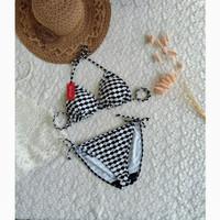 bikini set bra busa celana ikat baju renang pantai wanita 3301