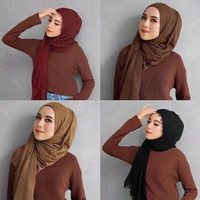 Hijab Pashmina Arabian B25 Shawl Cotton Wide Jilbab murah real pic