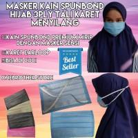 Masker Hijab Kain Spunbond 3Ply Tali Karet Menyilang Premium Quality