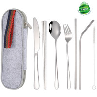 Portable Travel Luxury High Quality 7Pcs Stainless Steel Cutlery Set