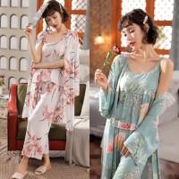 Baju Tidur Wanita 302 Set Piyama Bajutidur Ladies Kimono Cewek Muslim