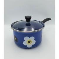 Panci susu enamel 18 cm bunga sakura / Sauce pan enamel warna biru