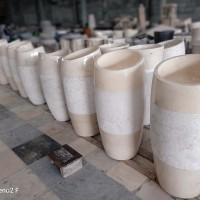 wastafel batu alam marmer set pedistal model keong