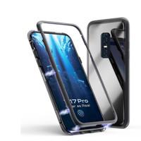Case Magnetic Oppo F7 Transparant Premium Glass 2in1