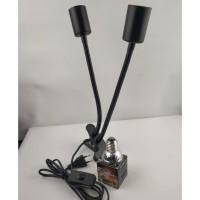 Holder lampu jepit fitting keramik 2 leher 30cm housing besi