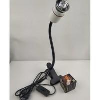 Holder lampu jepit besi tanpa housing fitting keramik leher 30cm