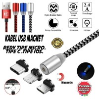 Kabel Data Charger Magnet 2.4A 1M Micro USB TYPE C iPhone Magnetic