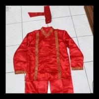 Pakaian Adat Makassar Pria - Baju Bodo (Anak-anak) - Size S, Merah