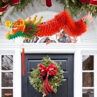 jiujoxi Lampion Gantung Desain Naga Tahun Baru Chinese untuk Dekorasi