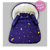 paket kasur bayi set kelambu bantal guling model lipat bb navy