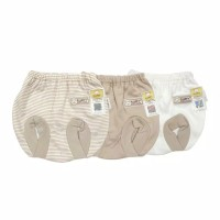 FLUFFY CELANA POP BAYI (Isi 3 pc) KHAKI SERIES NEWBORN