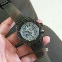 Jam tangan pria HB Ferrari transparan chrono aktif tali rubber