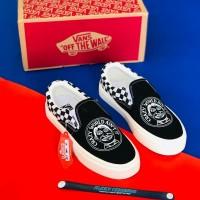 Sepatu VANS Slip On Crazy World Black OG Grade ori Made In Vietnam - Hitam, 36