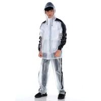 Jas Hujan Setelan KAUM 3.0 Terang Jaket Celana Stelan Transparan Karet