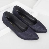 Guzzini FB 171 Biru Navy - Sepatu Flat Satin Serut Wanita