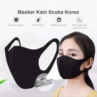 Masker Scuba hitam Masker Korea Kain Scuba / Masker Anti Debu Bakteri