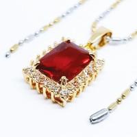 Kalung Liontin Batu Kristal Merah Delima Cutting Kotak - VeE Kalung