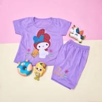 Baju Setelan Pendek Anak Perempuan Motif My Melody Bordir 1-4 thn