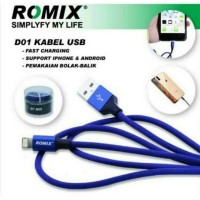 ROMIX Kabel Data 2 In 1 Bisa Android + Iphone 2,4 A Fast Charging