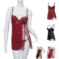 Sexy Marron Salsica Sexy Nightdress Lingerie -Motif Flowers Laces +Gst