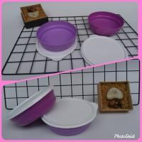 Tupperware tempat bekal bulat ungu 1 set (2pc)