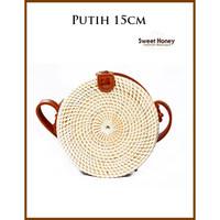Tas Rotan Bali Bulat 20cm Putih Polos / FLower Tali Coklat / Putih - Putih 15cm