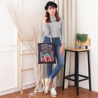 Tas Tote Canvas Bag Castus Tas Wanita cewek Perempuan Kuliah Import