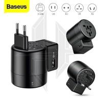 BASEUS Travel Adapter Universal Charger Plug Colokan Adaptor USB Port