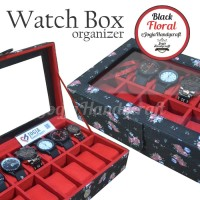 akaz organizer Black Floral Watch Box / Kotak Tempat Jam Tangan Isi 12