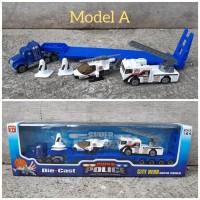 Diecast Set Mobil Truk Police Alloy - Paket Miniatur Truck Car Polisi