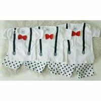 NEW Setelan Suspender Mickey Putih Size L Baju Stelan Bayi Anak