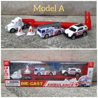 Diecast Set Mobil Truk Ambulance Alloy - Paket Miniatur Truck Car